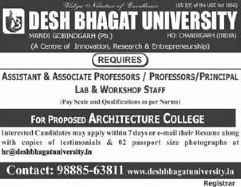 Asstt Professor and Workshop staff (Desh Bhagat University)