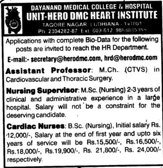 Nursing Supervisor and Cardiac Nurses (Dayanand Medical College and Hospital DMC)