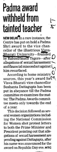 Padma award withheld from trainted teacher (Visva Bharati University)
