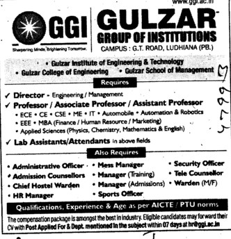 Director, Professor and Lab Attendants (Gulzar Group of Instituties Khanna)