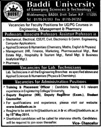 Lab Technicians and Administrative posts (Baddi University of Emerging Sciences and Technologies)