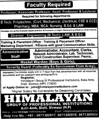 Accountant and Clerk (Himalayan Group of Professional Institutions)