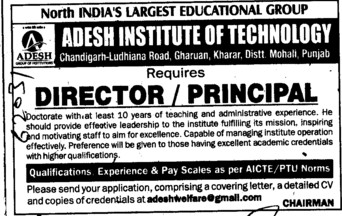 Director and Principal (Adesh Institute of Technology)