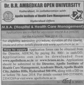 MBA in Hospital and Health Care Management (Dr B R Ambedkar Open University BRAOU)
