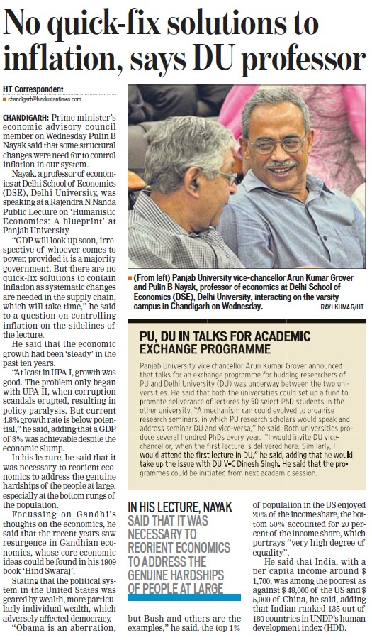 No quick fix solutions to inflation, DU Professor (Delhi University)