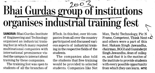 Industrial Training fest held (Bhai Gurdas Group of Institutions)