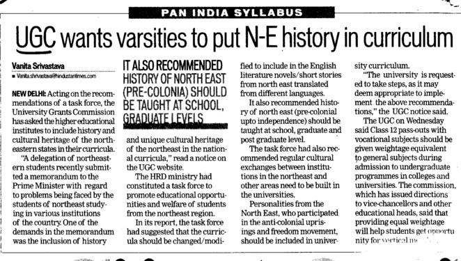 UGC wants varsities to put NE history in curruculum (University Grants Commission (UGC))