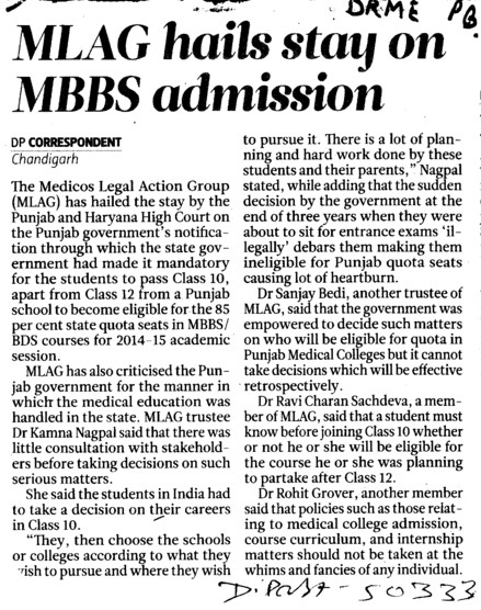MLAG hails stay on MBBS admission (Director Research and Medical Education DRME Punjab)
