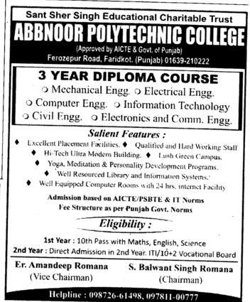 Diploma in ME, ECE and CE (Abbnoor Polytechnic College)