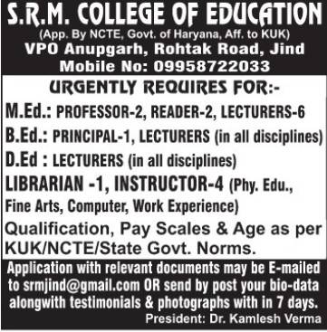 Instructor and Librarian (SRM COLLEGE OF EDUCATION)