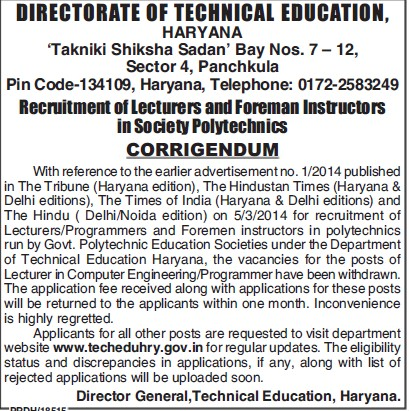 Lecturers and Foreman Instructors (Directorate of Technical Education Haryana)