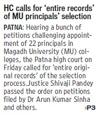 HC calls for entire records of MU principals selection (Magadh University)