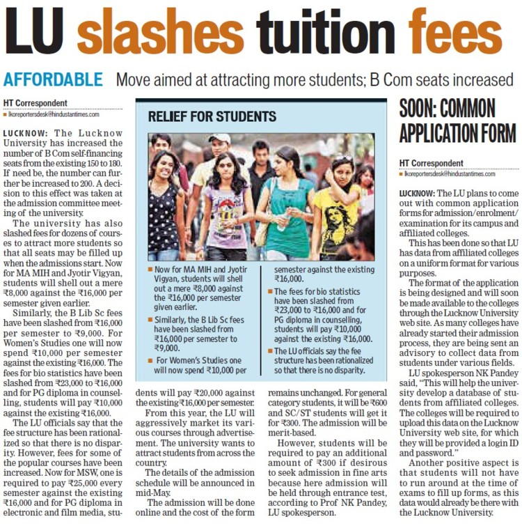 LU slashes tuition fees (Lucknow University)