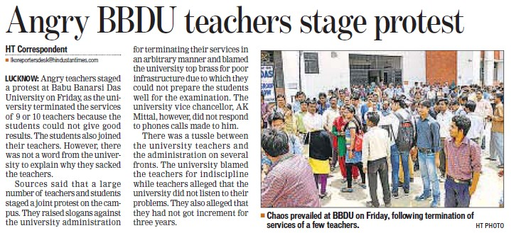 Angry BBDU teachers stage protest (BBD University)