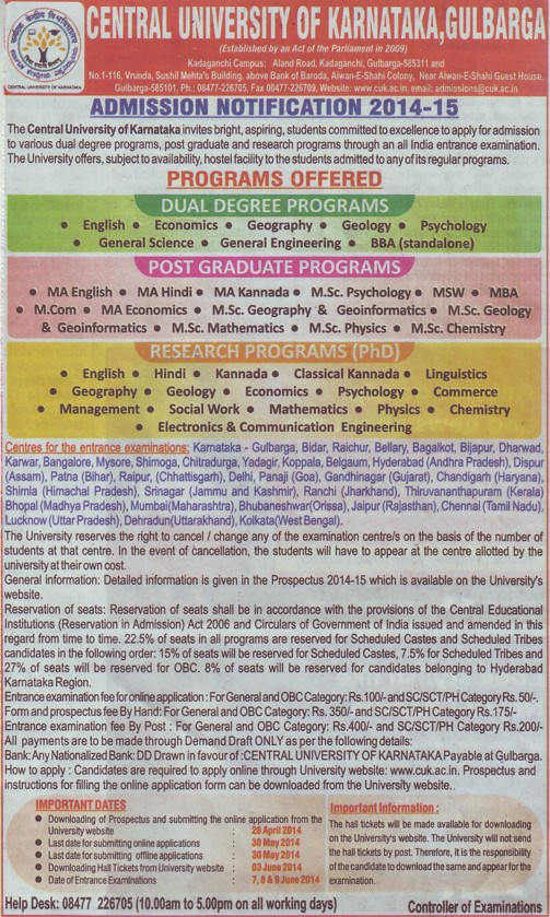 PG and Research Programme (Central University of Karnataka)