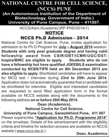 NCCS PhD Programme (National Centre for Cell Sciences)