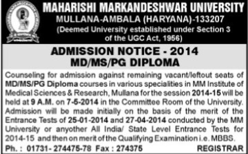 MD and MS Programmes (Maharishi Markandeshwar University)