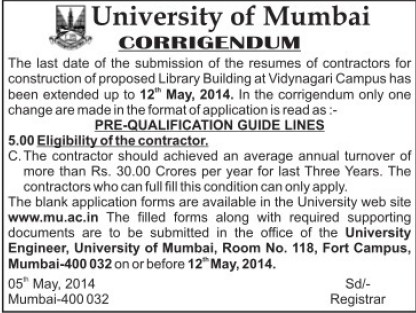 Construction of Library Building (University of Mumbai)