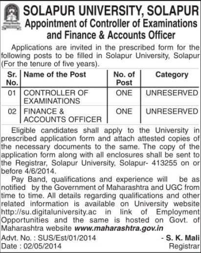 CoE and Accounts Officer (Solapur University)