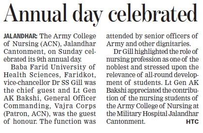 Annual day celebrated (Army College of Nursing)