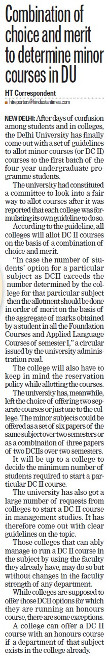 Combination of choice and merit to determine minor courses in DU (Delhi University)