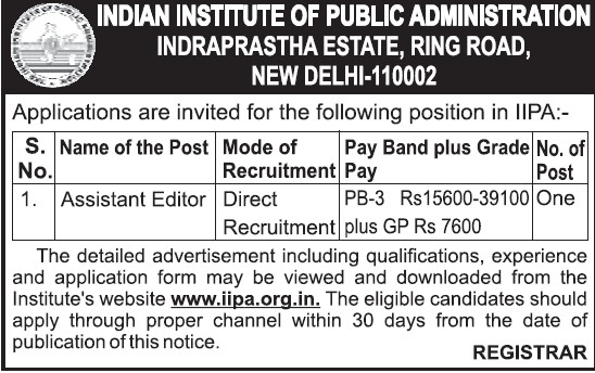 Assistant Editor (Indian Institute of Public Administration (IIPA))