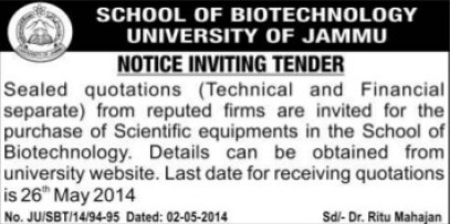 Purchase of Scientific Instruments (Jammu University)