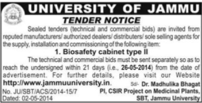 Supply of Biosafety Cabinet type II (Jammu University)