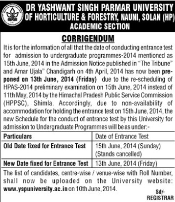 UG Admission Entrance Test (Dr Yashwant Singh Parmar University of Horticulture and Forestry)