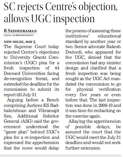 SC rejects centres objection, allows UGC inspection (University Grants Commission (UGC))
