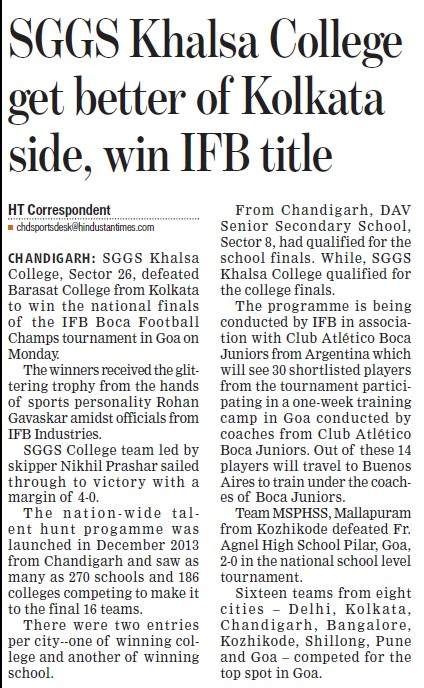 SGGS get better of Kolkata side, win IFB title (SGGS Khalsa College Sector 26)