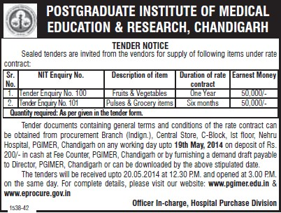 Supply of Grocery items (Post-Graduate Institute of Medical Education and Research (PGIMER))