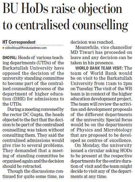 BU HoDs raise objection to centralised counselling (Barkatullah University)