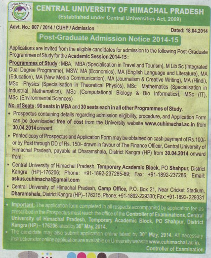 PG Courses (Central University of Himachal Pradesh)