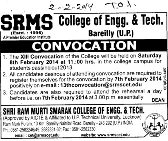13th Convocation held (SRMS College of Engineering & Technology)