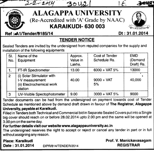 Supply of FTIR Spectroscopy (Alagappa University)