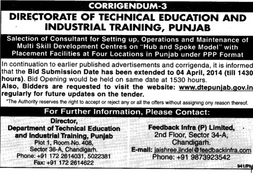 Maintenance of Multi Skill Development Centres (Directorate of Technical Education and Industrial Training Punjab)