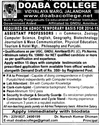 Asstt Professor in Commerce (Doaba College)