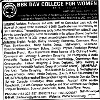 Asstt Professor on contractual basis (BBK DAV College for Women)