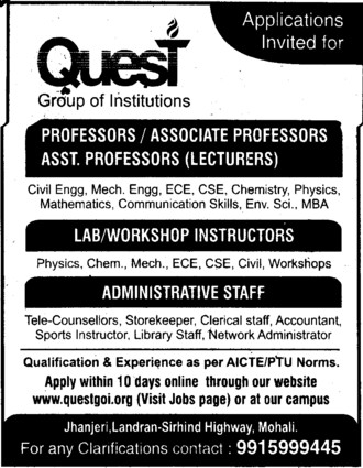 Workshop Instructors (Quest Group of Institutions)