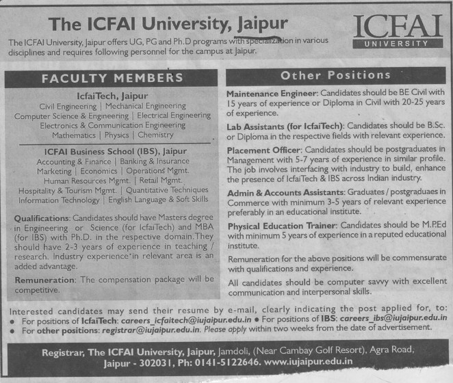 Lab Assistants and Physical Education Trainer (ICFAI University)