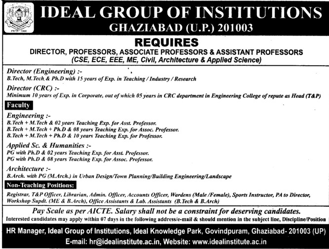 Director and Asstt Professor (Ideal Group of Institutions)