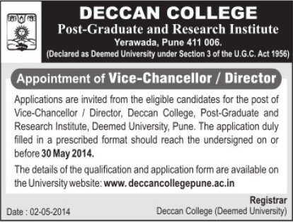 Vice Chancellor and Director (Deccan College Postgraduate and Research Institute Deemed University)