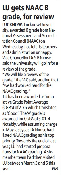 LU gets NAAC B grade, for review (Lucknow University)