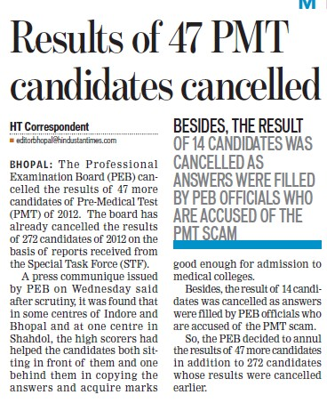 Results of 47 PMT candidates cancelled (MP Professional Examinational Board)