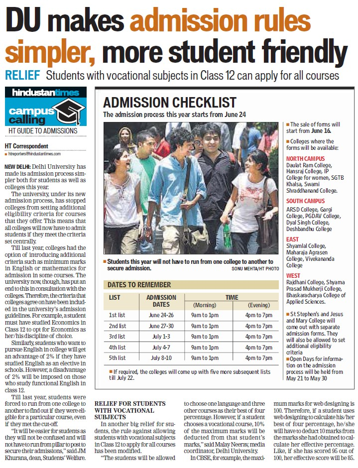 DU makes admission rules simpler, more student friendly (Delhi University)