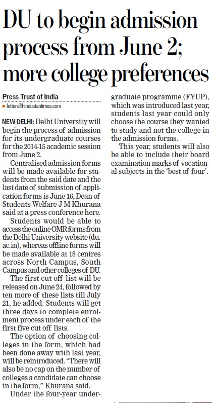 DU to begin admission process from June 2 (Delhi University)