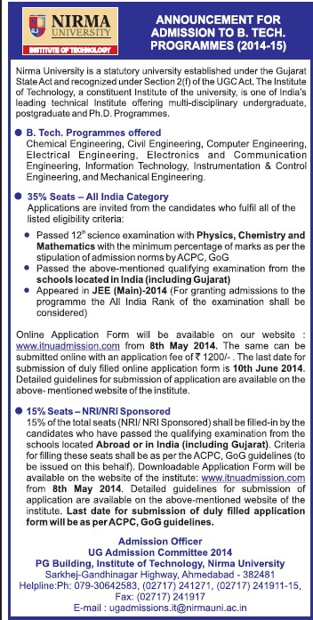 B Tech in Instrumentation and Control Engineering (Nirma University)