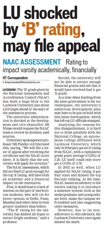 LU shocked by B rating may file appeal (Lucknow University)