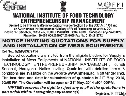 Supply of Mess equipments (National Institute of Food Technology Entrepreneurship and Management (NIFTEM))
